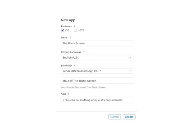 Specifying Name SKU Number and Bundle ID