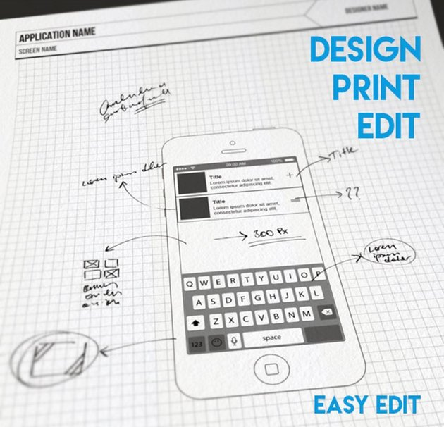 Simple Mobile UI Wireframe Design Kit printable app design with comments