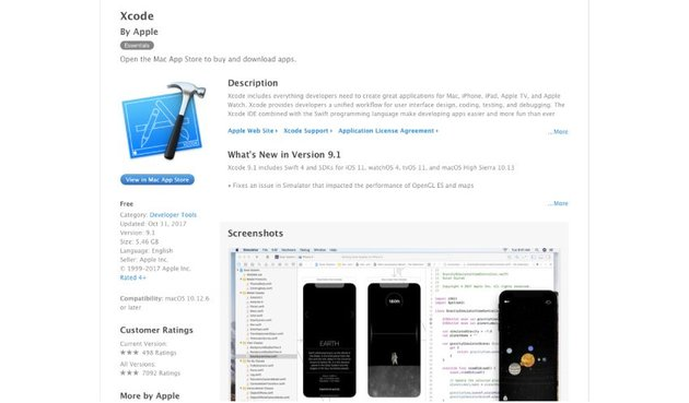 Xcode download page