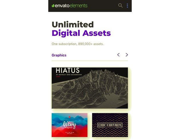 the envato elements home page on mobile - the navigation is replaced by three dots