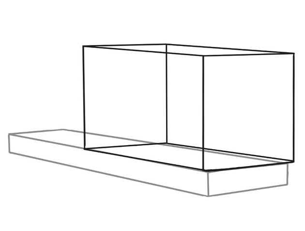 We then draw a large cube on top of our first rectangle