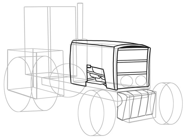 It is best to draw this tractor a section at a time