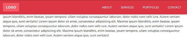 How the header looks like when our scrolling exceeds the limit of 150px
