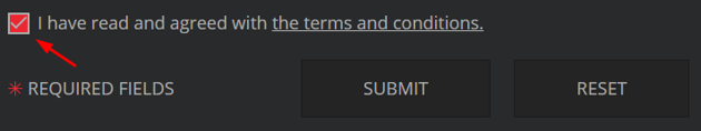 The buttons become active as soon as the checkbox is checked