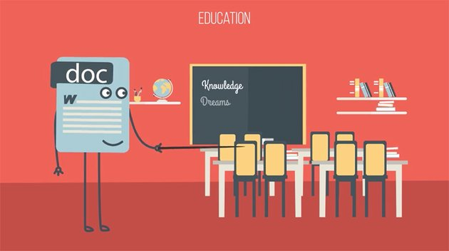 Word document character in a classroom setting animation still