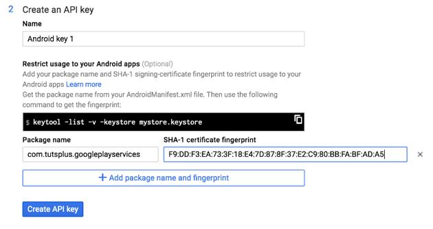 Google API Console Create an API Key