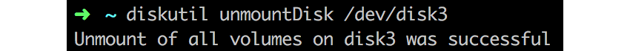 Terminal output from diskutil unmountDisk command