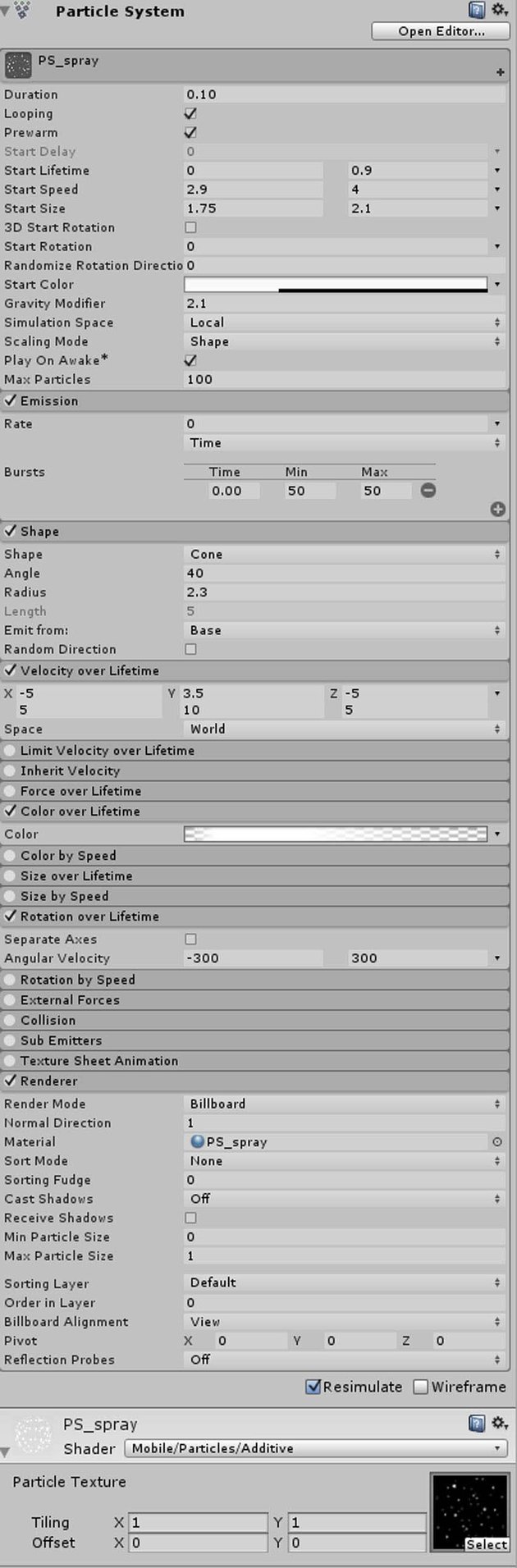 Particle System for spary effect