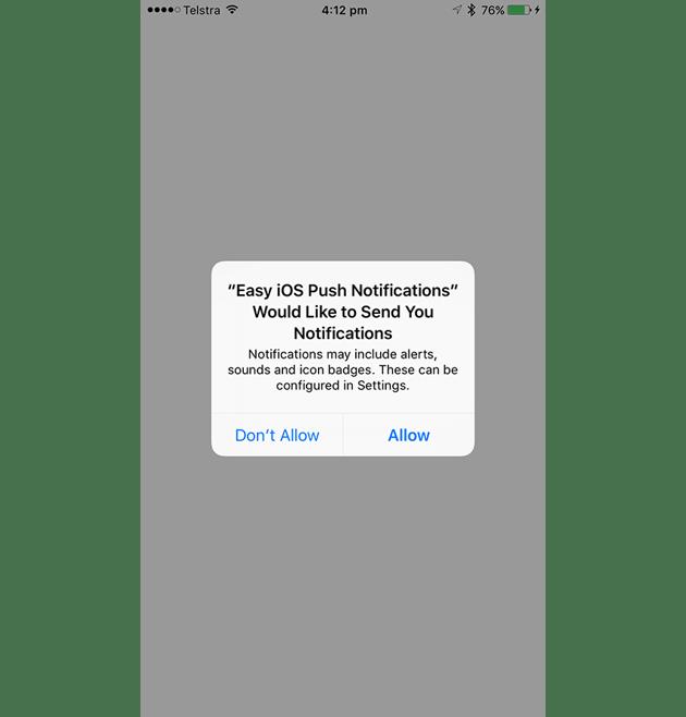 Notification Authorisation Alert