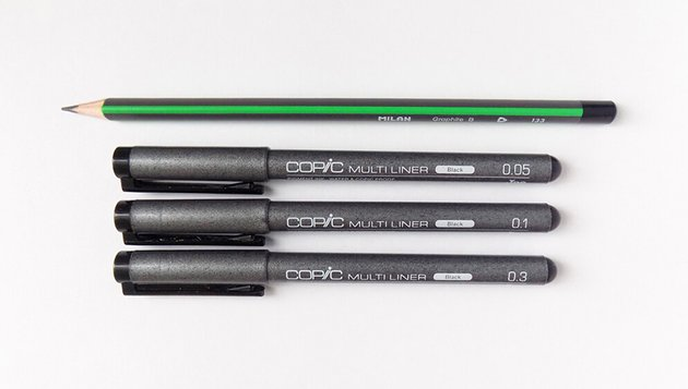 Art supplies a pencil ink liners of 005 01 and 03 widths