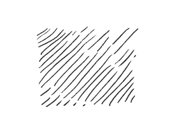 An example of basic hatching for drawing hair