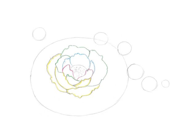 Drawing the foreground petals