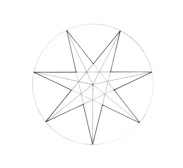 The seven-pointed star is complete