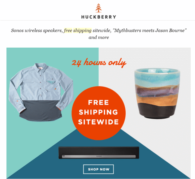 Huckberry free shipping for limited time frames