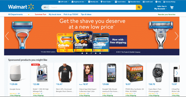 Wallmart highlights its large volume of products