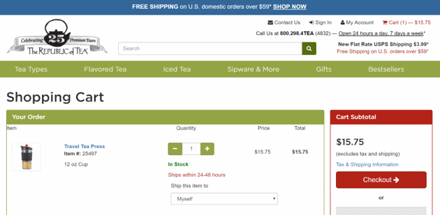 Free shipping restricted to US domestic orders