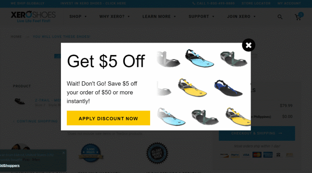 Exit offer discount