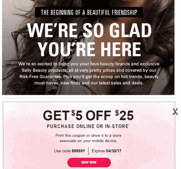 Welcome email promo example