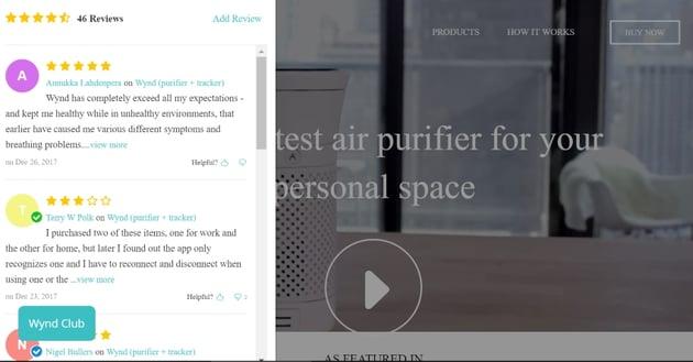 Customer reviews on website homepage
