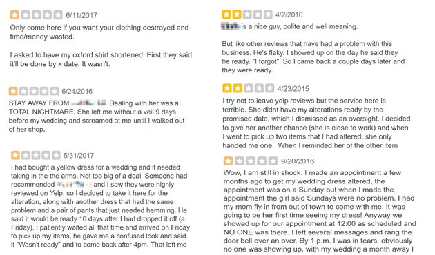 Excerpts of reviews of clothing alterations store