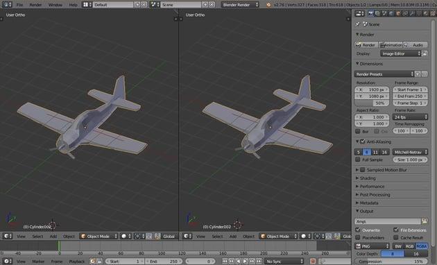 Split 3D viewport into two