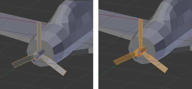 Select propeller and enter edit mode