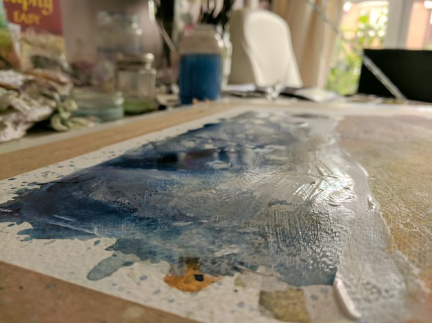 Painting with bumps and buckling