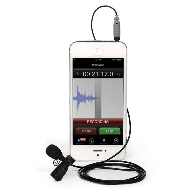 Lav mic attached to smartphone