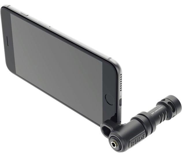 Shotgun mic attached to smartphone