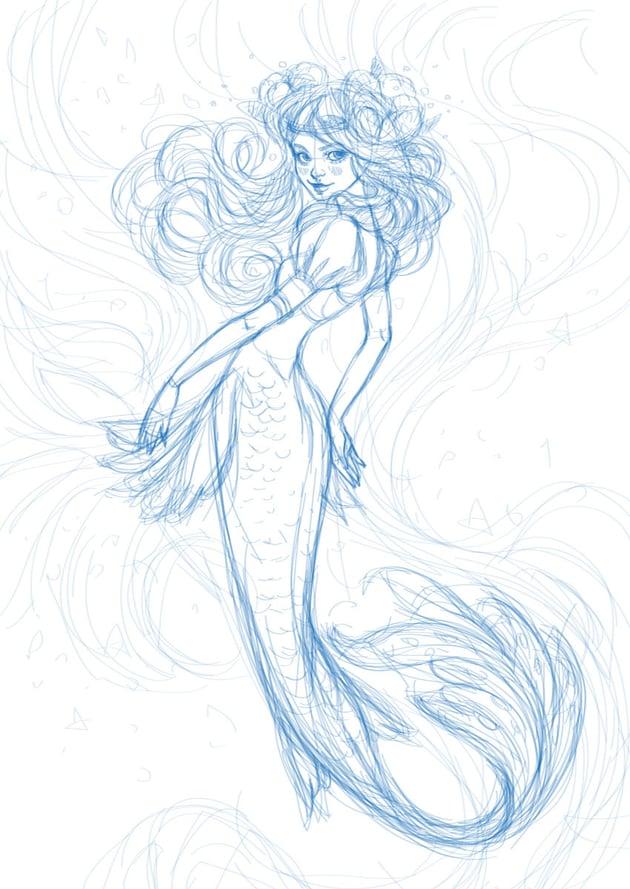sketch of a mermaid