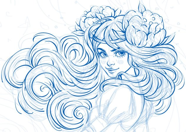 line art of the hairstyle