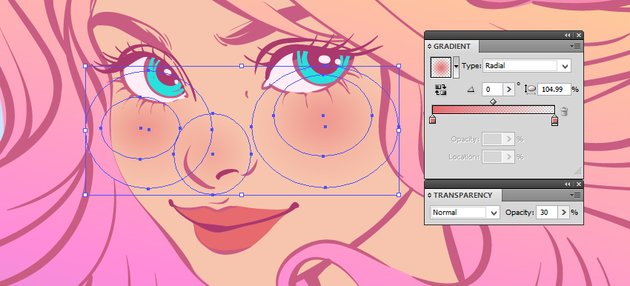 adding blushes to the face