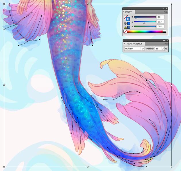 watercolor strokes on fins