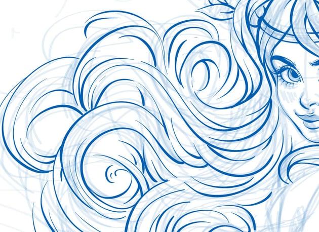 line art of hairs