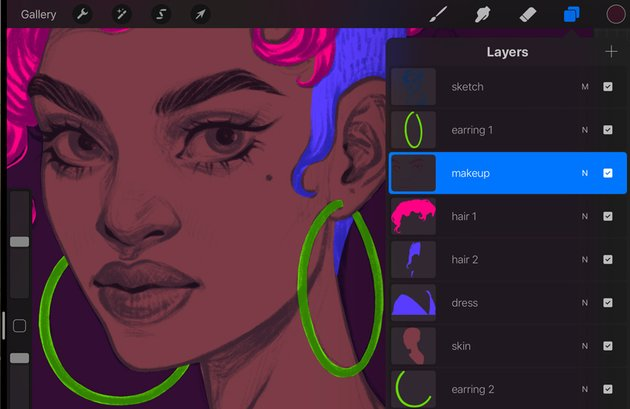 Neon Portrait Procreate Digital Drawing Tutorial makeup drawing