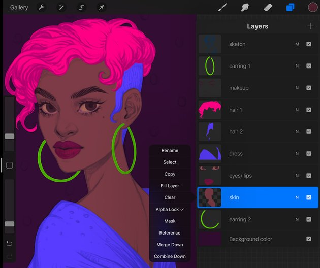 Procreate Portrait Painting Tutorial lock in the layer