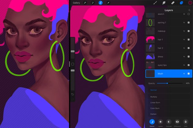 How to Paint a Portrait in Procreate Tutorial blush drawing