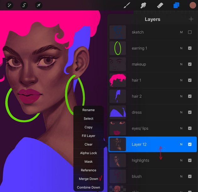 How to Paint a Portrait in Procreate Tutorial merge a highlights layers
