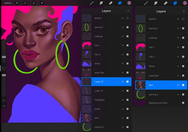 How to Paint a Portrait in Procreate Tutorial add a gloss to the skin