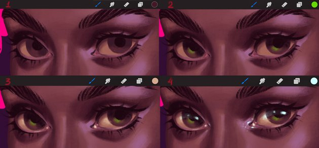 How to Paint a Portrait in Procreate Tutorial add volume to the eyes