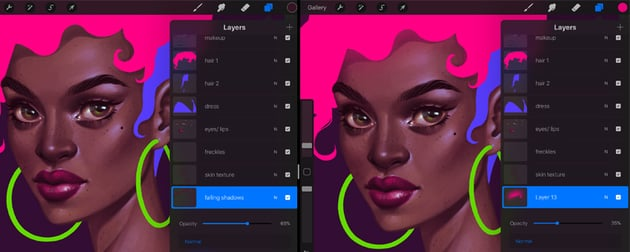 How to Paint a Portrait in Procreate Tutorial draw the falling shadows