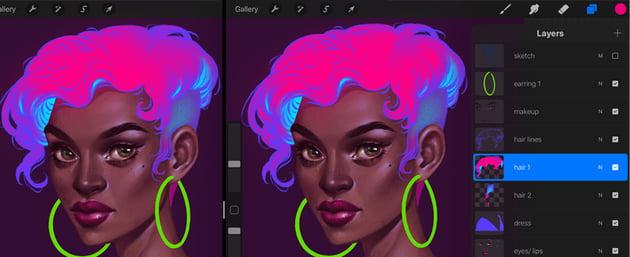 Neon Portrait Tutorial Procreate add shining to the hair