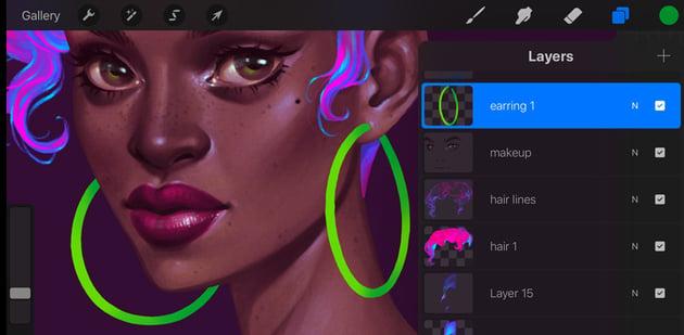 Neon Portrait Tutorial Procreate add volume to earrings
