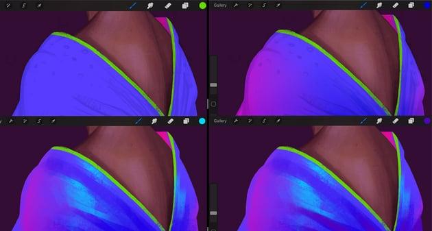 Neon Portrait Tutorial Procreate add volume to the cloth