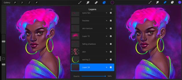 Procreate Neon Portrait Painting Tutorial lower the nebula density