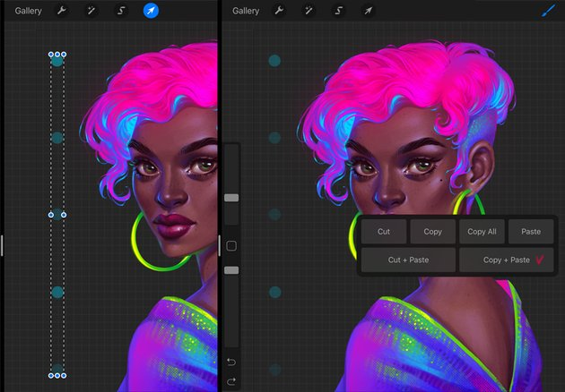 Procreate Neon Portrait Painting Tutorial duplicate the dots
