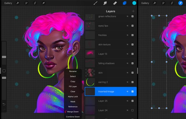 Procreate Neon Portrait Painting Tutorial merge layers with dots