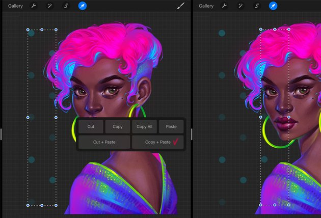 How to Paint a Neon Portrait in Procreate Tutorial duplicate the row of dots