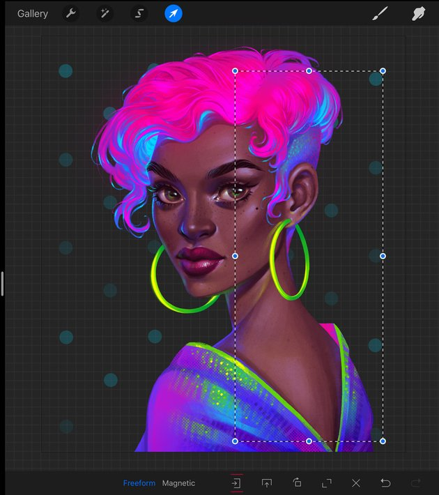 How to Paint a Neon Portrait in Procreate Tutorial flipping horizontally of pattern