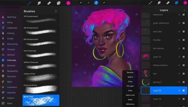 How to Paint a Neon Portrait in Procreate Tutorial new brush for texture